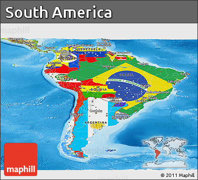 Free Flag Panoramic Map of South America physical outside