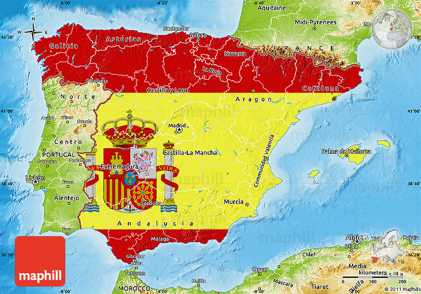 Image result for spain flag map