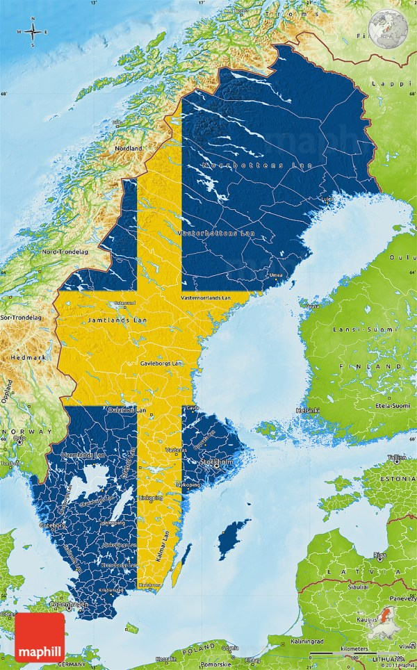 Flag Map of Sweden physical outside