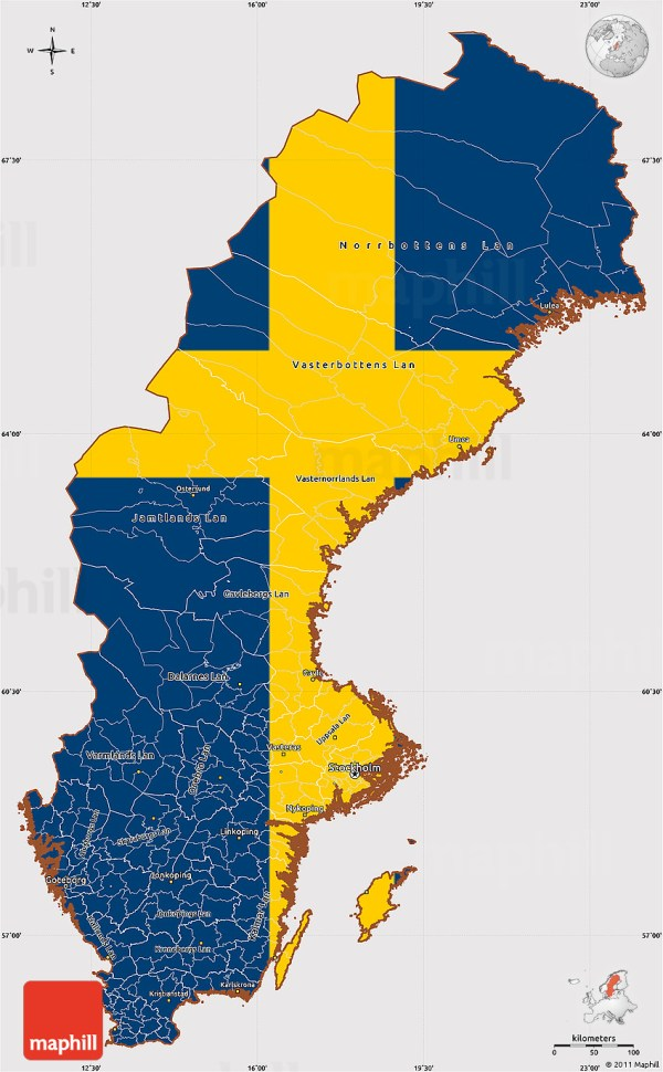 Flag Simple Map of Sweden flag rotated