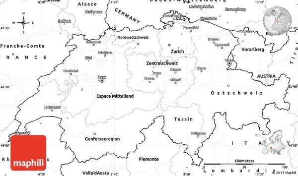 Blank Simple Map of Switzerland