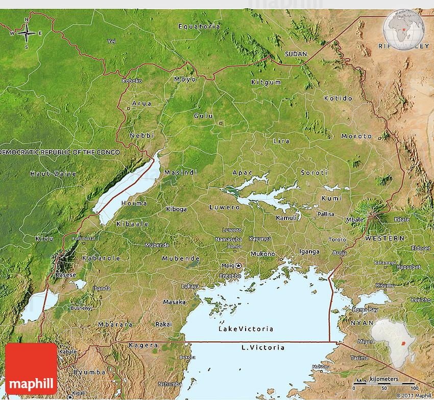 uganda map and uganda satellite image