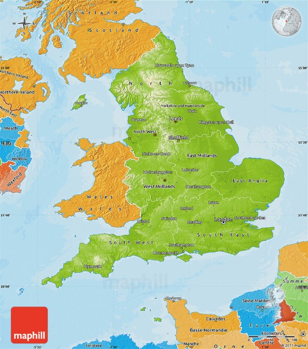 Physical Map of England political shades outside