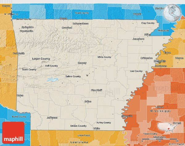 Shaded Relief 3D Map of Arkansas political shades outside
