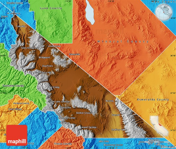 Physical Map of Mono County political outside