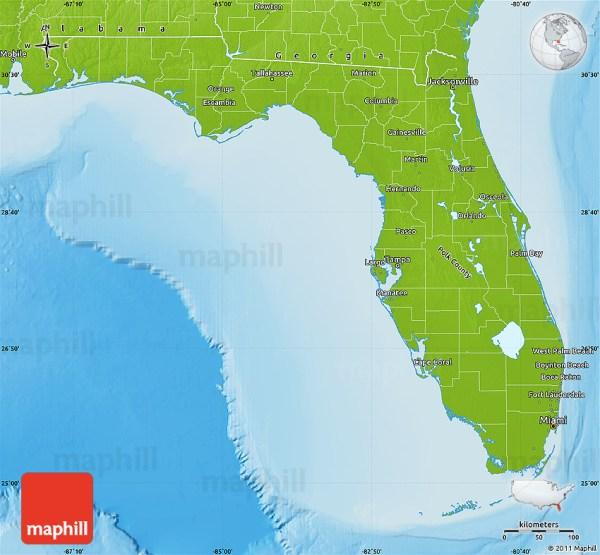Physical Map of Florida