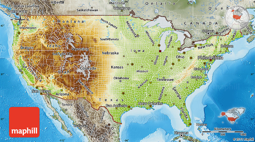 Either allow your device to use geolocation or type add. Physical Map Of United States Semi Desaturated Land Only