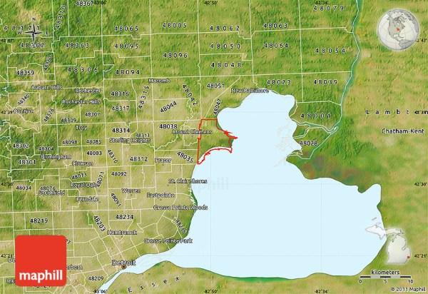 Satellite Map of ZIP Code 48045