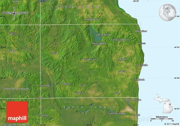 Satellite Map of Alcona County