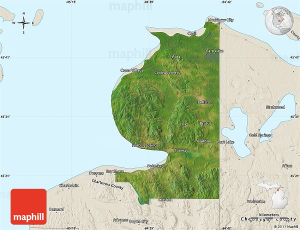 Satellite Map of Emmet County shaded relief outside