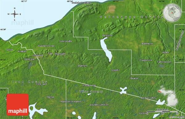 Satellite Map of Gogebic County