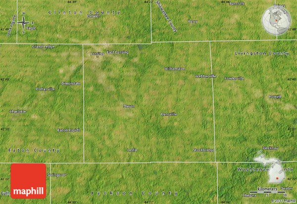 Satellite Map of Ingham County