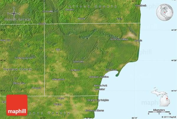 Satellite Map of Iosco County