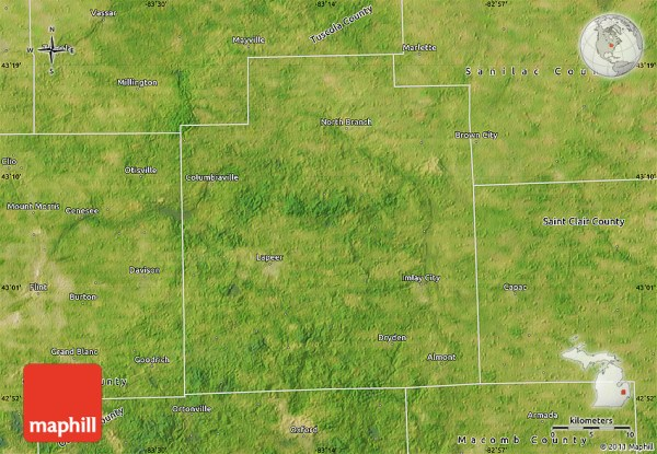 Satellite Map of Lapeer County