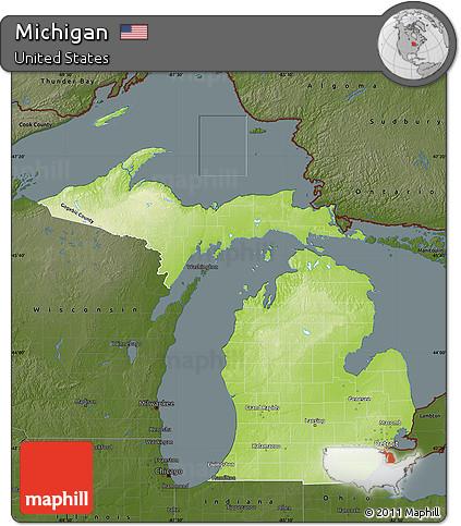 Free Physical Map of Michigan darken