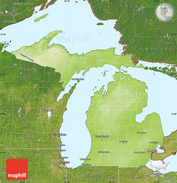 Physical Map of Michigan satellite outside