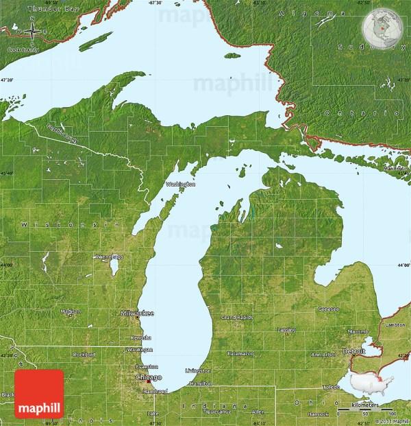 Satellite Map of Michigan