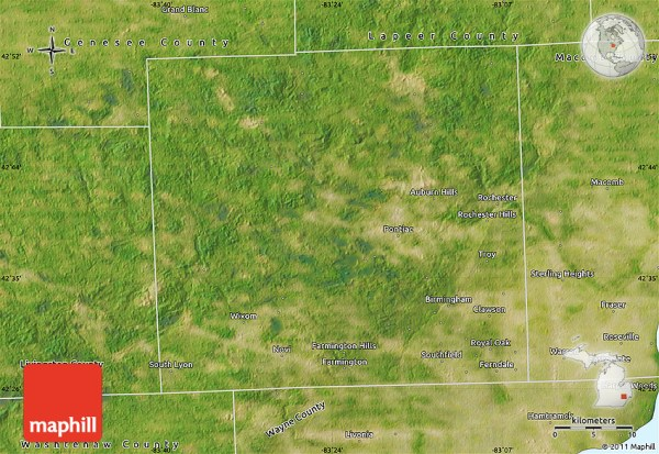 Satellite Map of Oakland County