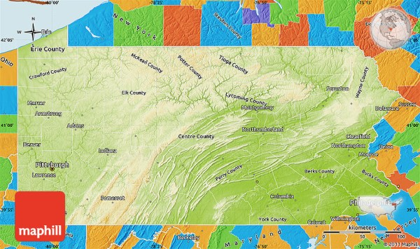 Physical Map of Pennsylvania political outside