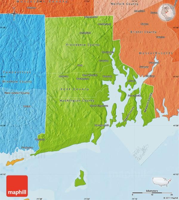 Physical Map of Rhode Island political shades outside