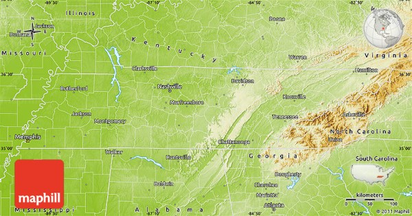 Physical Map of Tennessee