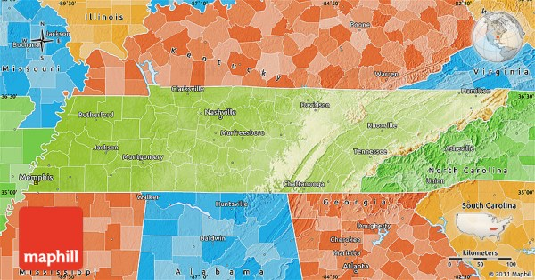Physical Map of Tennessee political shades outside