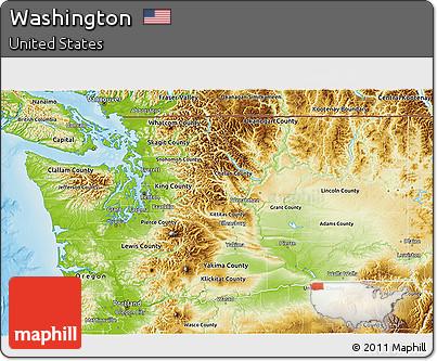 Free Physical 3D Map of Washington