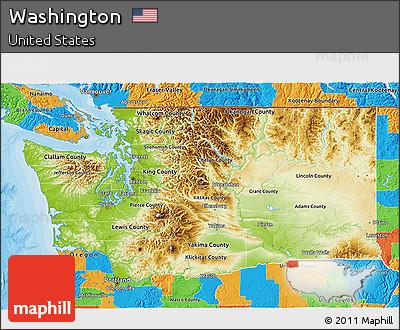 Free Physical 3D Map of Washington political outside