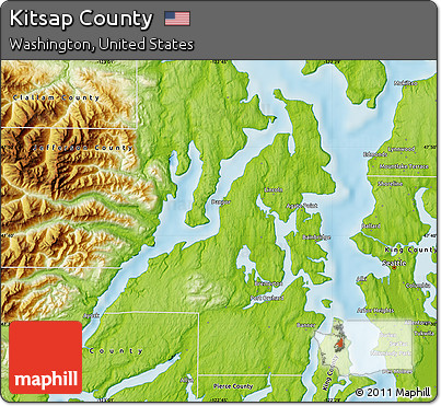Free Physical Map of Kitsap County