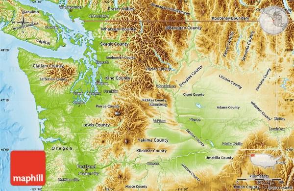 Physical Map of Washington