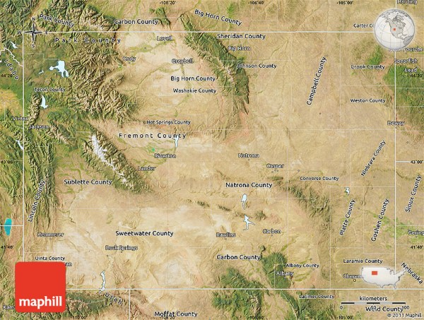 Satellite Map of Wyoming