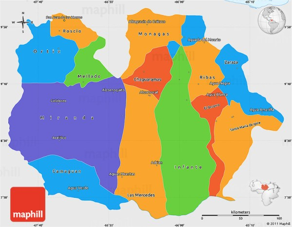 Political Simple Map of Guarico single color outside