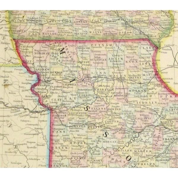 Map Iowa Missouri 1867 Original Art Antique Maps