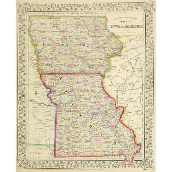 Map Iowa amp Missouri 1867 Original Art Antique Maps