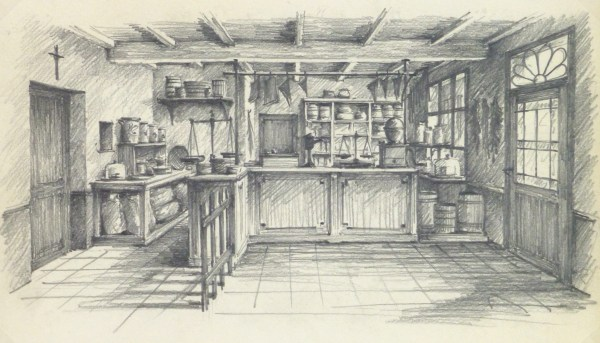 Pencil Drawing Country Store Circa 1950