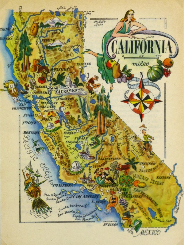 California Pictorial Map 1946