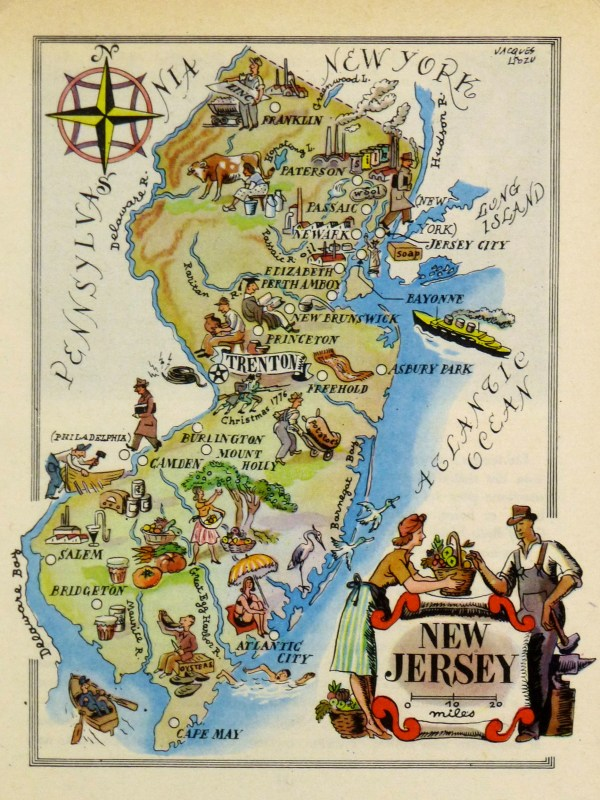 New Jersey Pictorial Map 1946