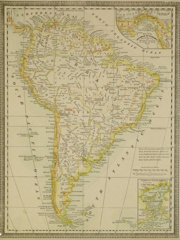 South America Map 1890 Original Art Antique Maps amp Prints