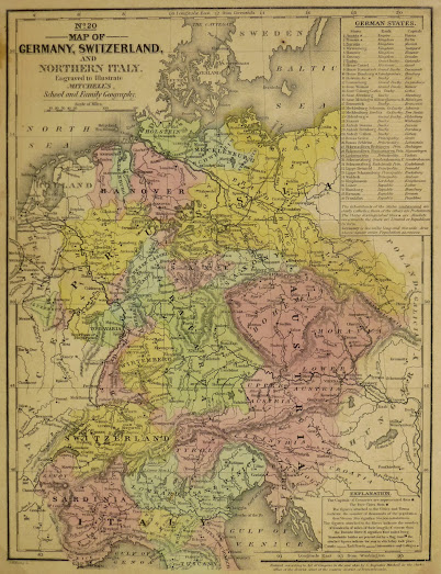 Maps Of Germany And Switzerland : germany, switzerland, Germany, Switzerland,, Original, Antique, Prints