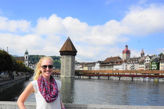 Melissa in Lucerne, Switzerland Chapel Bridge