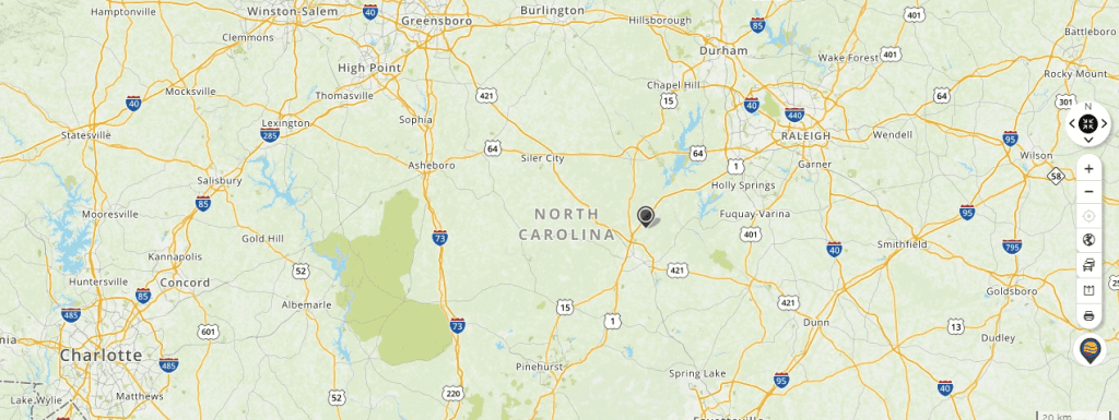 Mapquest Map of North Carolina and Driving directions