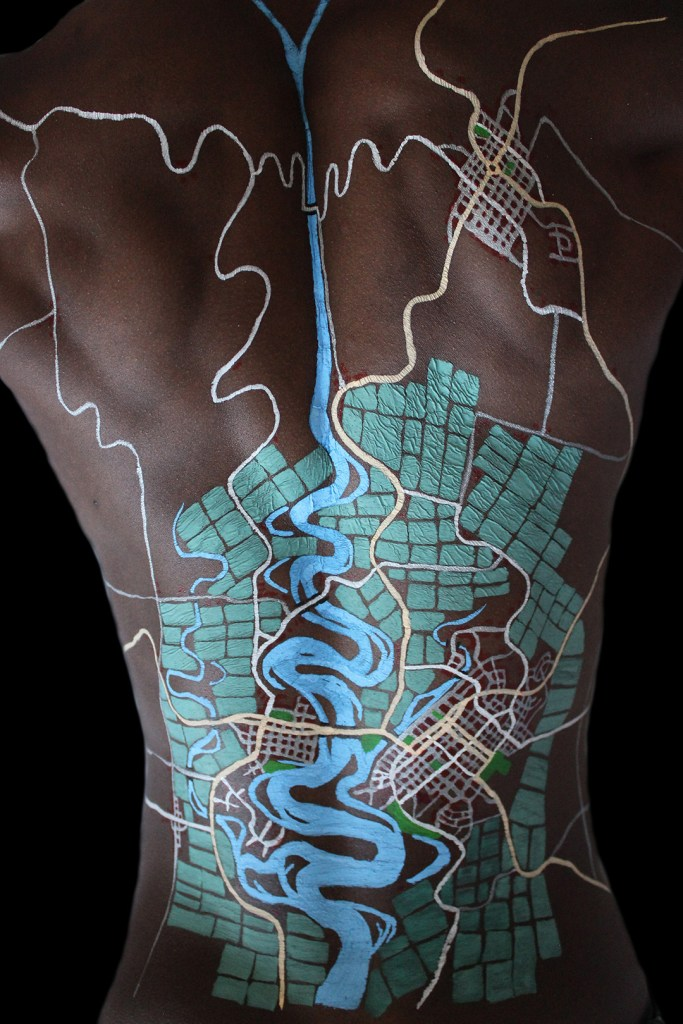 map drawn on body