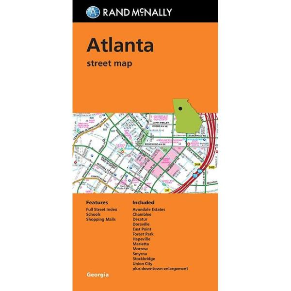 Atlanta GA Folding Travel Map The Map Shop