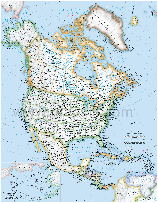 North America Political Map 1 Mapsof