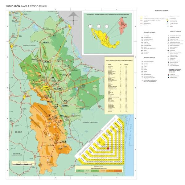Nuevo Leon Mexico Tourist Map Mapsofnet