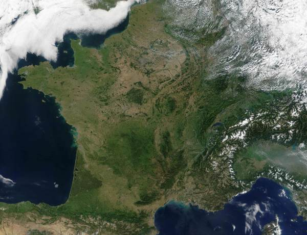 Satellite Image of France Mapsofnet
