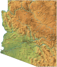 Arizona Physical Map  Mapsof.net