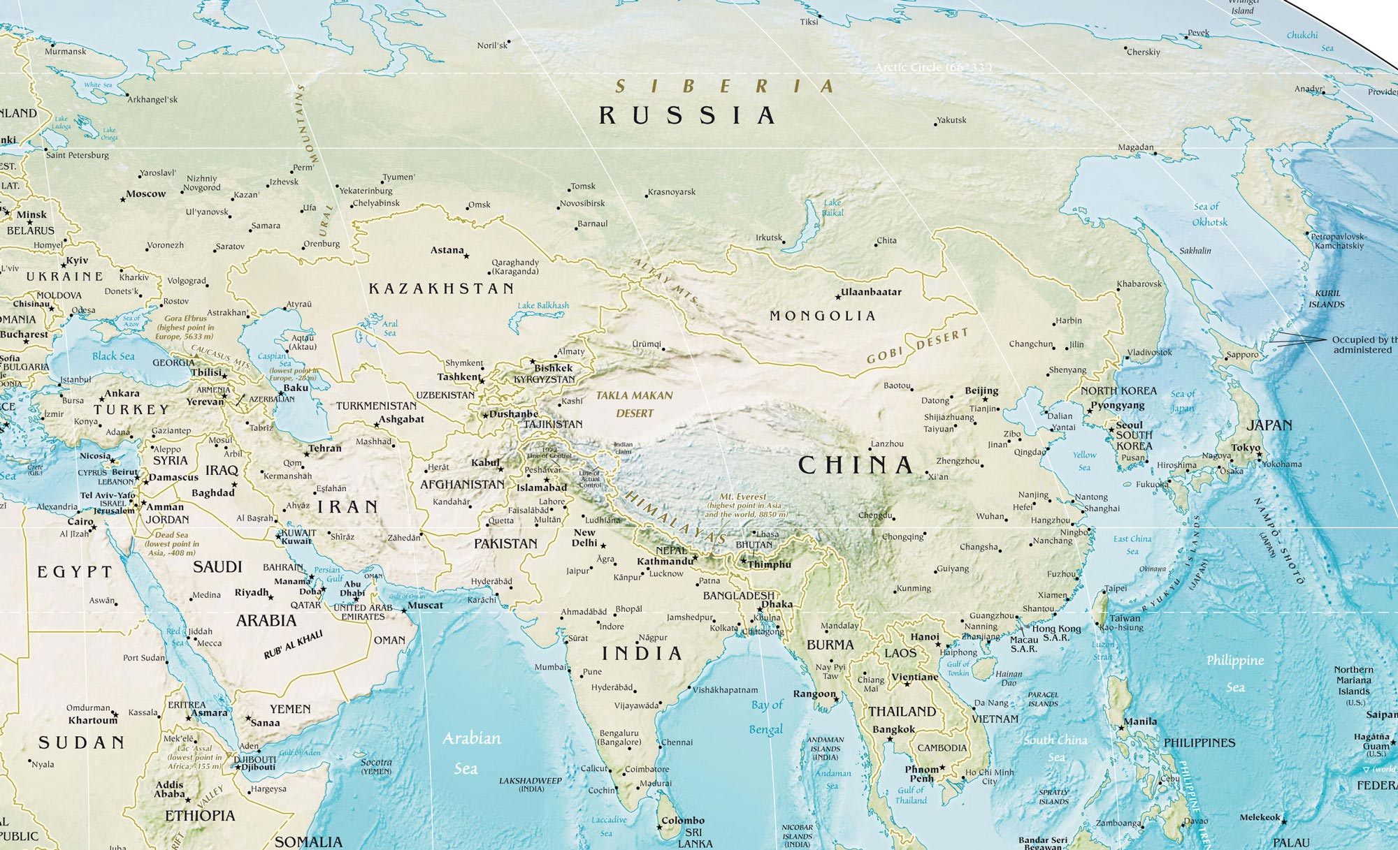 Asia Physical Map Mapsof