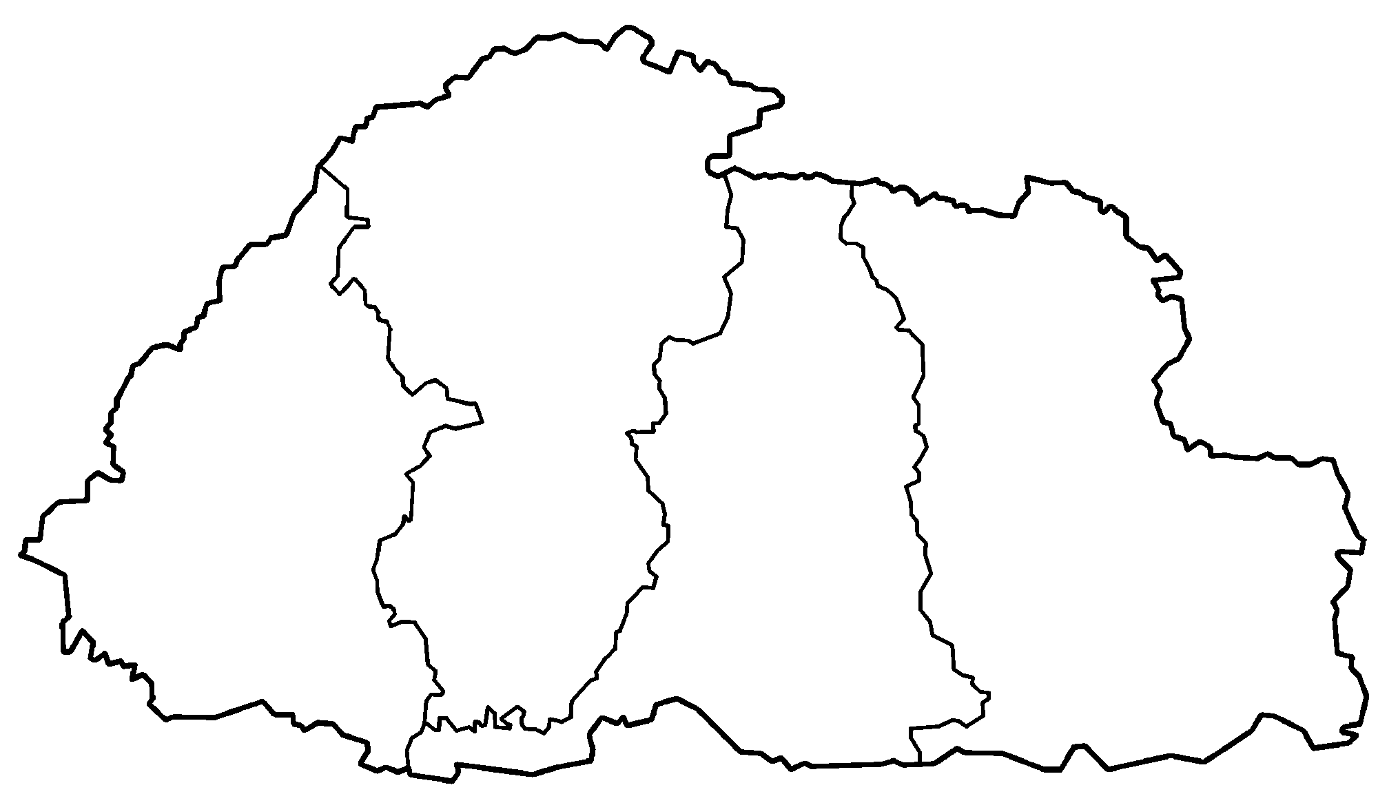 Bhutan Zones Blank • Mapsof.net