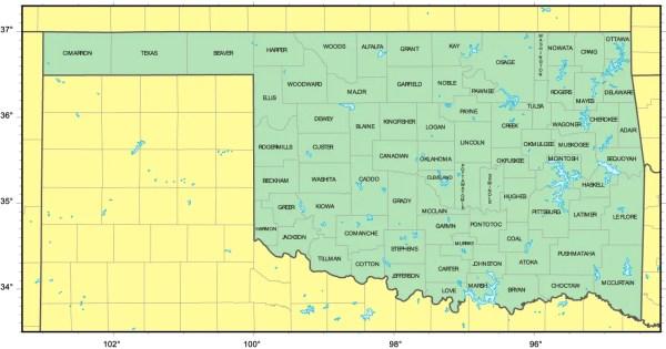Counties Map of Oklahoma Mapsofnet